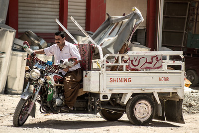 Iraq Kurdistan 20130916 Man - shining motor - daily life in a small villiga in Kurdistan Photo Maria Langen / Sverredal & Langen AB