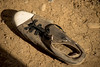 Iraq Kurdistan 20130913 <br /> Shoe in the Domz refugee camp in Kurdistan <br /> Photo Maria Langen / Sverredal & Langen AB
