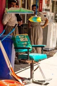Iraq Kurdistan 20130916 Outdoor hair salon chair in a small village in Kurdistan Photo Maria Langen / Sverredal & Langen AB