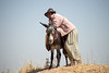 Iraq Kurdistan 20130913<br /> Man with his donkey on the road of Kurdistan<br /> Photo Maria Langen / Sverredal & Langen AB