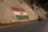 Iraq Kurdistan 20130914<br /> Kurdistan flag on the road of Kurdistan<br /> Photo Maria Langen / Sverredal & Langen AB