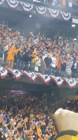"Game 4  - Steve Perry leads the crowd in singing Journey song, ""When the Lights Go Downin the City"""