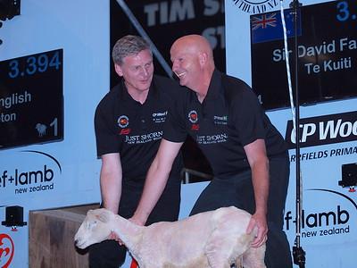 Prime Minister with former World Champion Shearer Sir David Fagan