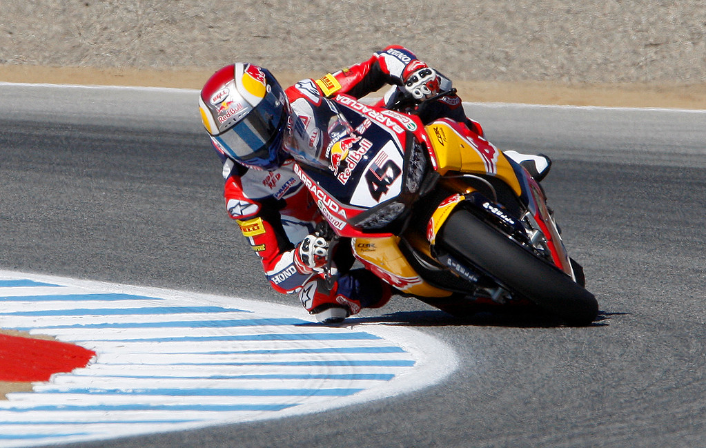. Red Bull Honda World Superbike Team rider Jake Gagne (45) from USA, leans in to turn-3 during a practice session at the FIM Superbike World Championship at Mazda Raceway Laguna Seca on Friday, July 7, 2017.  Gagne is making his World Superbike debut after replacing Red Bull Honda team rider Nicky Hayden who succumb to injuries from a bicycle accident in May of 2017.  (Vern Fisher - Monterey Herald)