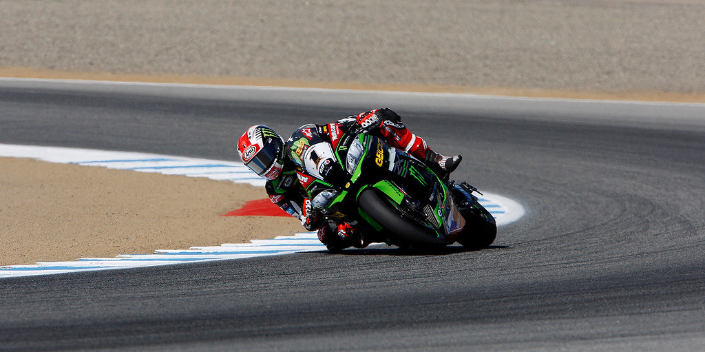 . Jonathan Rea (1) from Great Britain rides his Kawasaki ZX-10RR around turn-3 during a practice session at the FIM Superbike World Championship at Mazda Raceway Laguna Seca on Friday, July 7, 2017.  (Vern Fisher - Monterey Herald)