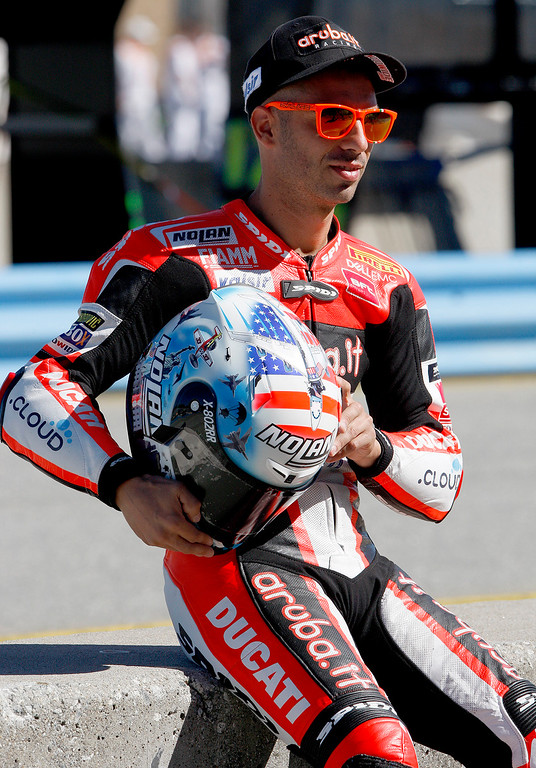 . Ducati team rider Marco Melandri prior to a practice session during the FIM Superbike World Championship at Mazda Raceway Laguna Seca on Friday, July 7, 2017.  (Vern Fisher - Monterey Herald)