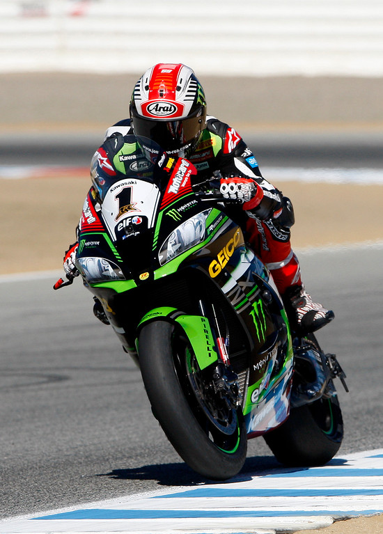 . Jonathan Rea (1) from Great Britain rides his Kawasaki ZX-10RR during a practice session at the FIM Superbike World Championship at Mazda Raceway Laguna Seca on Friday, July 7, 2017.  (Vern Fisher - Monterey Herald)