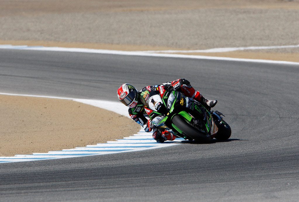 . Jonathan Rea from Great Britain rides his Kawasaki ZX-10RR around turn-3 during a practice session at the FIM Superbike World Championship at Mazda Raceway Laguna Seca on Friday, July 7, 2017.  (Vern Fisher - Monterey Herald)