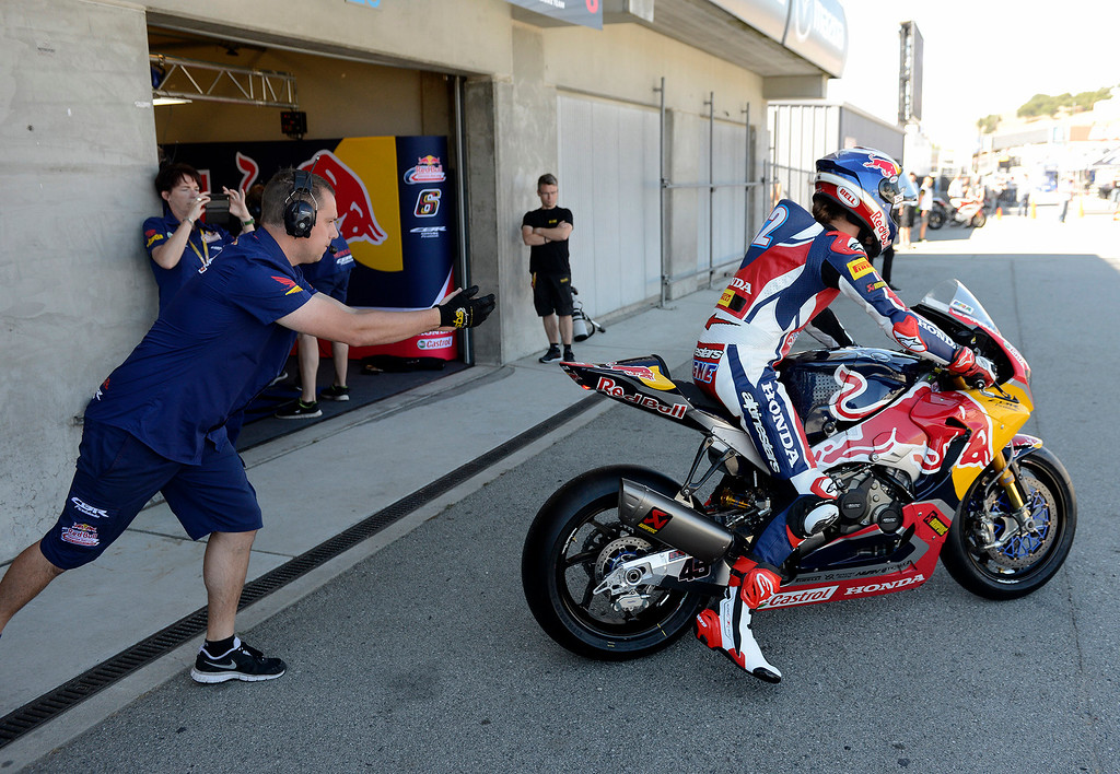 . Red Bull Honda World Superbike Team rider Jake Gagne heads out for a practice session during the FIM Superbike World Championship at Mazda Raceway Laguna Seca on Friday, July 7, 2017.  (Vern Fisher - Monterey Herald)