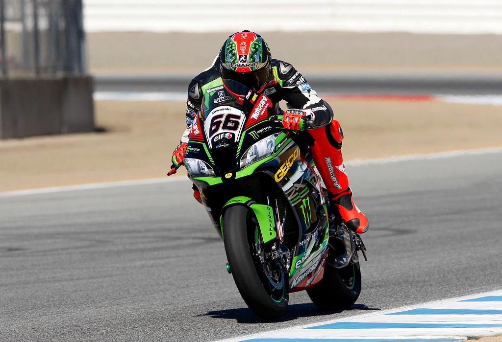 . Tom Sykes (66) from Great Britain on his Kawasaki ZX-10RR in the straight between turn-3 and turn-4 during a practice session at the FIM Superbike World Championship at Mazda Raceway Laguna Seca on Friday, July 7, 2017.  (Vern Fisher - Monterey Herald)