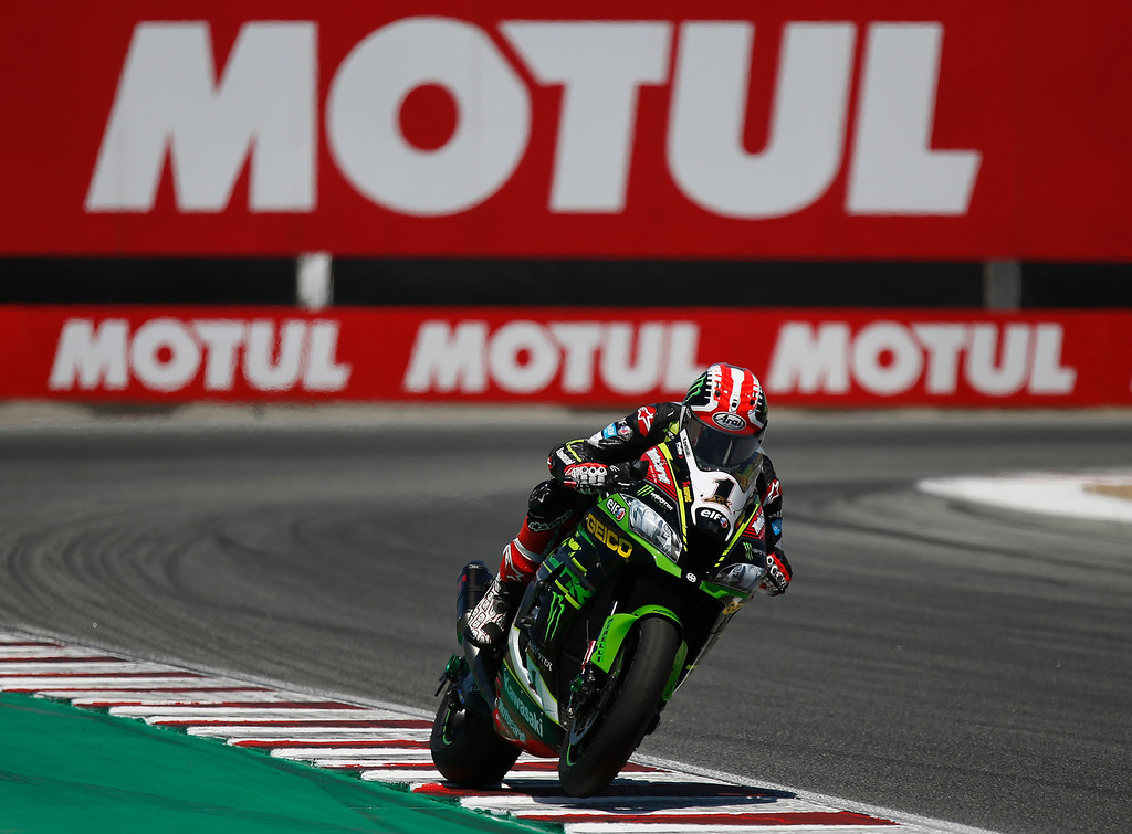 . Kawasaki Racing Teams Jonathan Rea of Great Britain races through turn 11 on his way to winning Race 2 of the Superbike World Championship at Laguna Seca Raceway in Monterey on Sunday June 24, 2018. (David Royal/ Herald Correspondent)