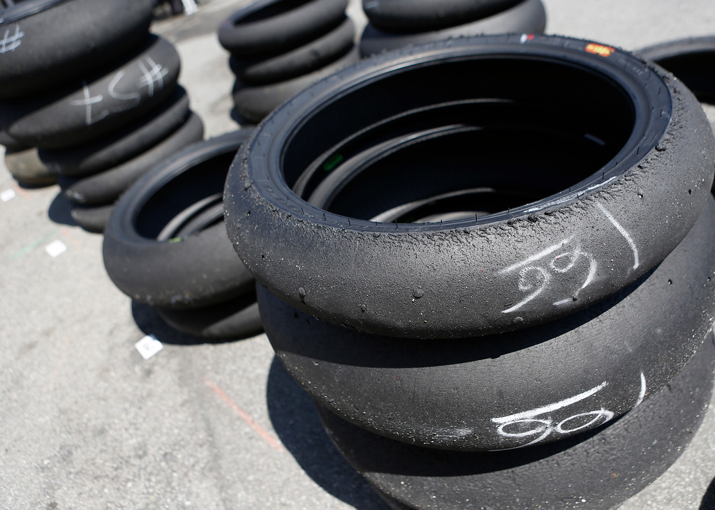 . Used motorcycle tires are marked with riders numbers during the Superbike World Championship at Laguna Seca Raceway in Monterey on Sunday June 24, 2018.   (David Royal/ Herald Correspondent)