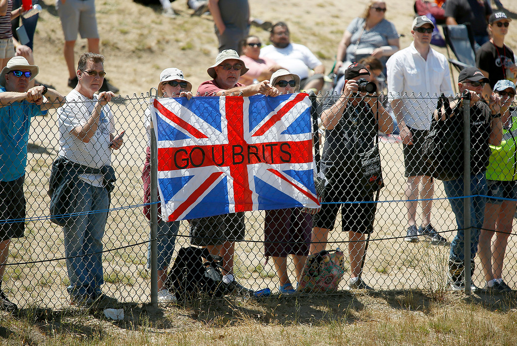 . British fans root on Kawasaki Racing Teams Jonathan Rea of Great Britain at the top of The Corkscrew on his way to winning Race 2 of the Superbike World Championship at Laguna Seca Raceway in Monterey on Sunday June 24, 2018. (David Royal/ Herald Correspondent)