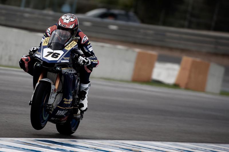 Loris Baz on a wet track at Jerez