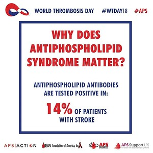 Why does #Antiphospholipid Syndrome (#APS) Matter?  Antiphospholipid antibodies are tested positive in 14% of patients with #stroke and 17% of patients with stroke under age 50. #WTDay18