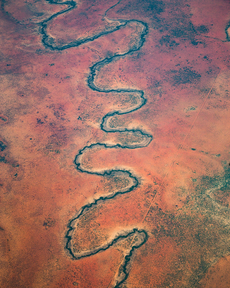 A river winds through a dry landscape. My view from a plane over South Africa #Aerial #WindowSeat #Plane #Desert #BBC #EarthOnLocation