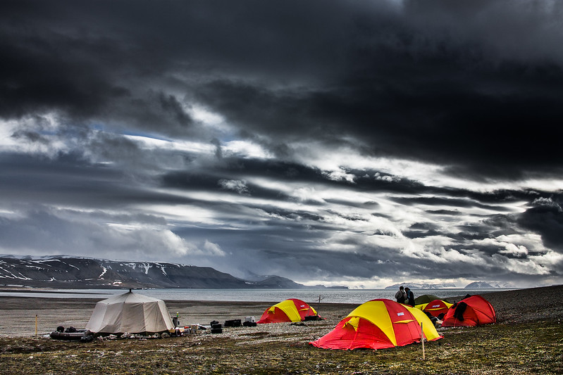 Here's that same sky over our little camp on Arctic Svalbard... 24 hours of daylight and impressionist cloudscapes. #BBCEarth #EarthOnLocation in Sassendalen Valley, #Svalbard #Arctic #Clouds #Weather #Polar #Cold #Sky