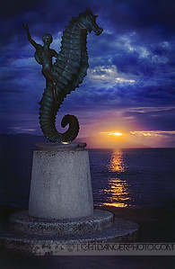 Right Place Right Time - Puerto Vallarta Malecon Seahorse Statue