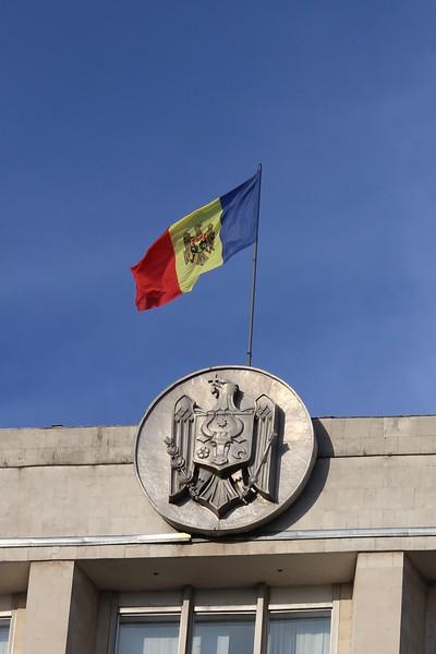 Moldova Coat of Arms of Moldova and Flag, Government House (Casa Guvernului), Chișinău