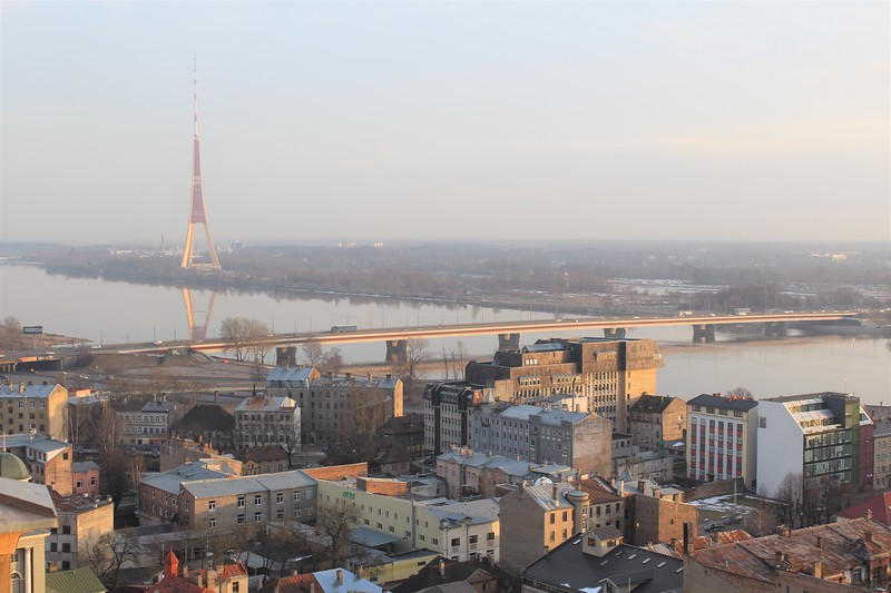 Riga TV Tower and Southwards View from City Center