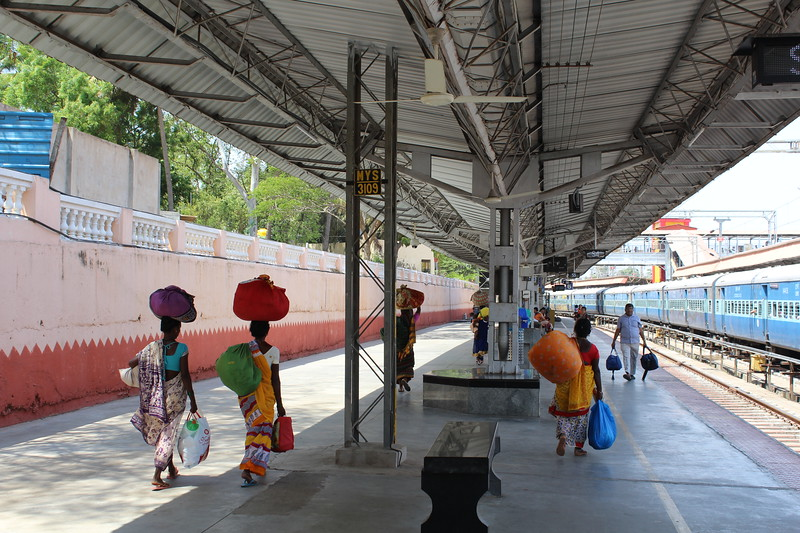Luggage bearing crania on Platform 6 at Mysuru/Mysore Railway Station