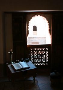 Room of a student. Bin Yousuf Madrassa was an Islamic college in Marrakech. http://en.wikipedia.org/wiki/Ben_Youssef_Medrassa