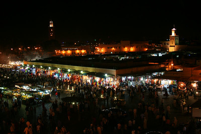 Marrakech's Djemaa el Fna square at night.