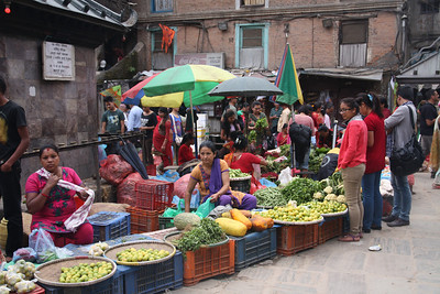 Asan Tole jammed with vegetable is the busiest square in the city