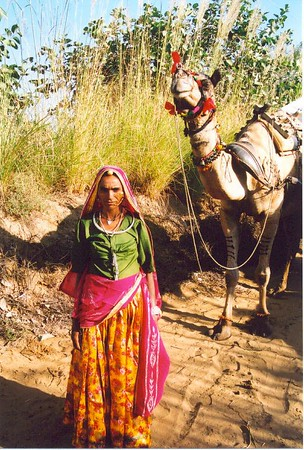 Beautiful lady and her camel (Pushkar)