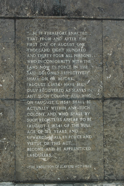 Inscription on the staute: Abolition of Slavery Act 1834.