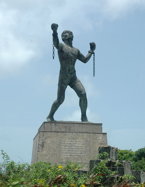The Emancipation statue (Bussa statue) located in the center of a roundabout.<br /> <br /> Bussa is believe to be the African who led a slave revolt in 1816.<br /> <br /> (edited)