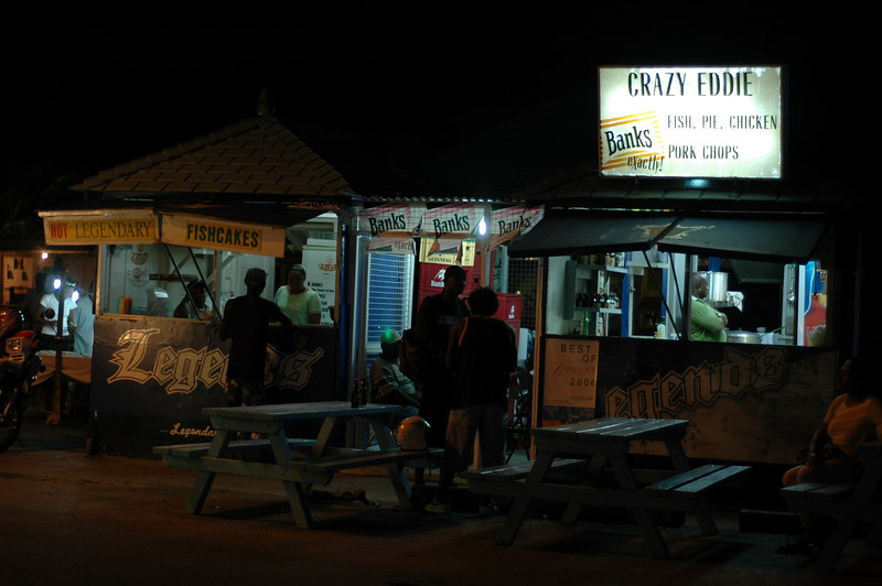 Down at Oistins Fish fry on a Saturday night.