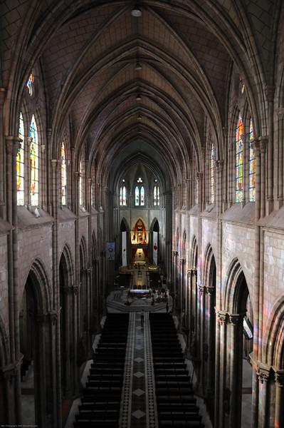 Inside the Basilica church in Quito