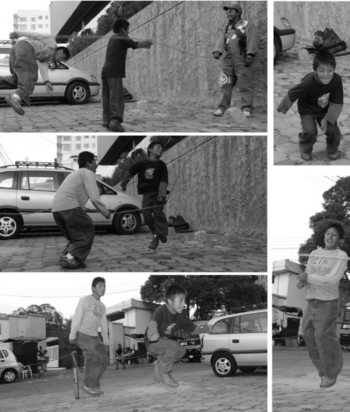Jumping rope in Quito.  After struggling in front of the camera, their dad came over to help and they hit their stride.