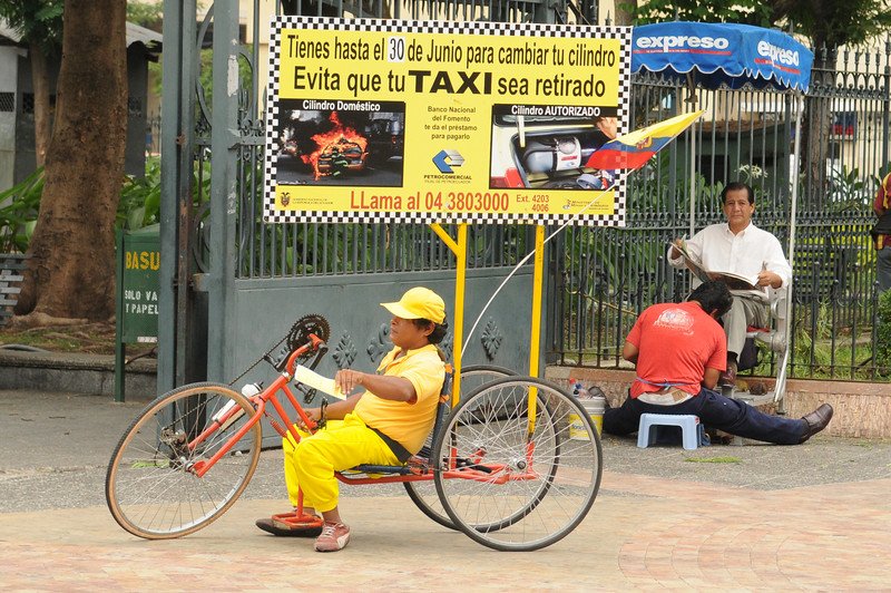I was confused by how this guy was a taxi.  Then I realized that Guayaquil has a bunch of guys riding around on hand-bikes with advertisements (they all had some type of disability, which is why they were hand-bikes)