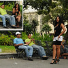"""How can I put this?  The woman sauntered all through the park and stopped to talk to these two guys.  I was POSITIVE she was """"working"""".  After the guy on the bench snapped a few  photos of her, she sat with them for a while - I guess they knew each other.  My bad."""