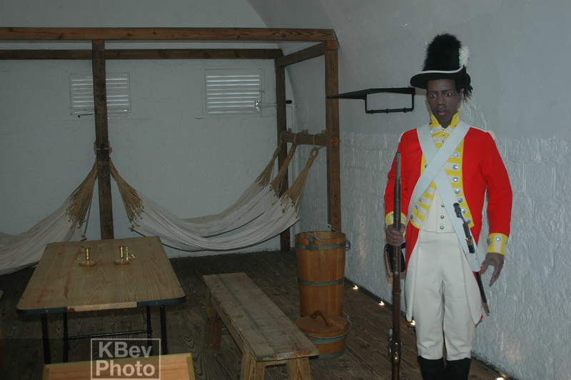 A statue in on the the bunks in the fortress.