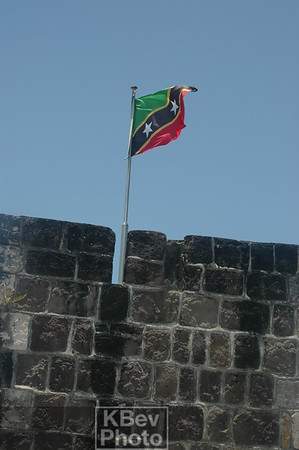 The national flag flying over the Brimstone Hill Fortress.