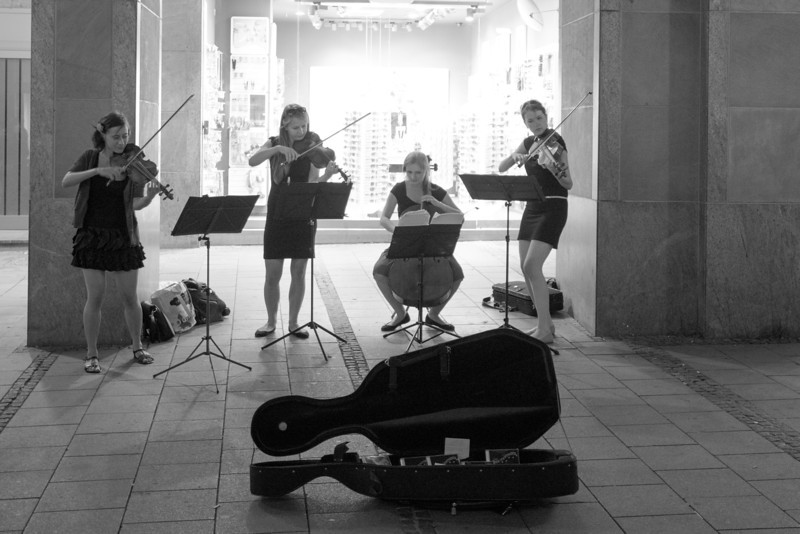 On my walk back from dinner, a classical quartet on the street.  They sounded great.