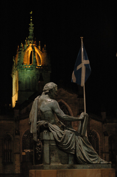David Hume (Scot Philosopher) statue & St. Giles Cathedral on the Royal Mile.