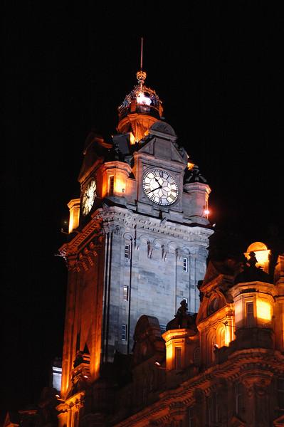 Balmoral Hotel at night.