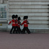 The guards outside of Buckinham Palace don't even look intimidating in small groups.
