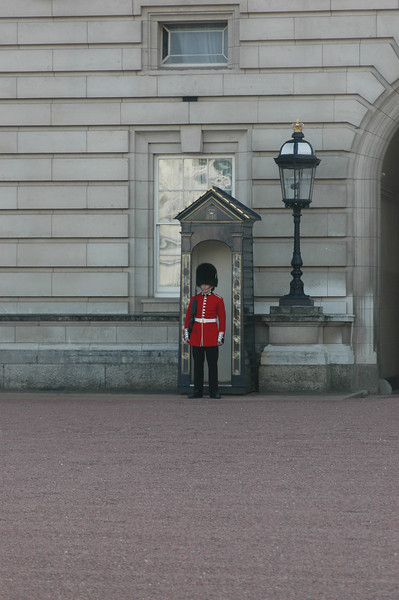 One of the guard outside Buckingham palace.  It's tough to look serious dressed like this.