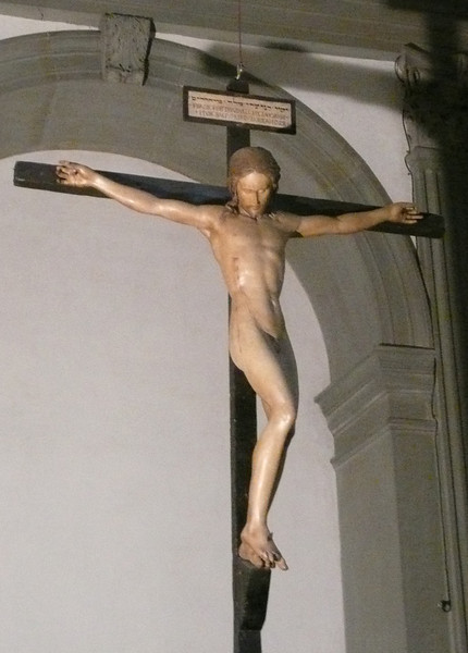 Florence - Crucifix_by Michaelangelo - carved from wood in 1492. Now resides in the Basilica Santo Spirito in Florence.  BTW:  I have no idea where this shot came from since you are not allowed to take photographs in the church.  I certainly did not take it!!
