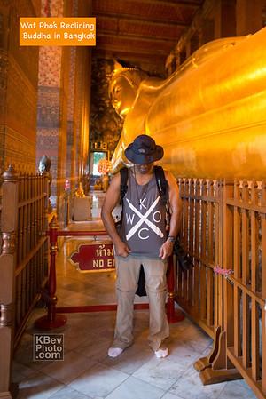 I KWOC with Wat Pho's reclining Buddha in Bangkok, Thailand