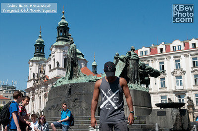 I KWOC in Prague's Old Town Square in front of the the John Huss monument