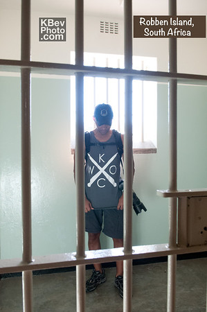 I KWOC in a cell on Robben Island, where Mandela was held