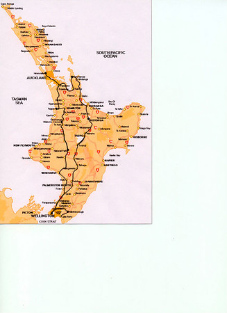Map of New-Zealand with our itinerary
