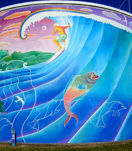 Surfing mural in Raglan