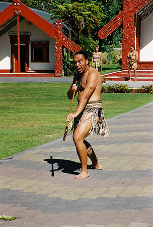 Maori warrior in front of the marae  The daily concert at the NZ Maori Arts & Crafts Institute is very interesting.   http://www.nzmaori.co.nz/
